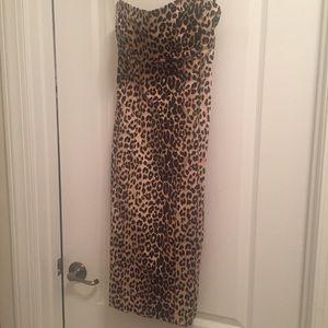 Bebe Leopard Strapless Dress